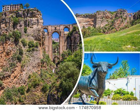Collage of Ronda, Spain at Puente Nuevo Bridge.