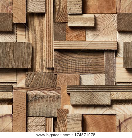 Texture of wooden blocks in collage background.