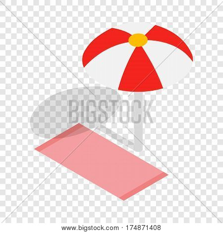 Beach towel and umbrella isometric icon 3d on a transparent background vector illustration