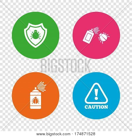 Bug disinfection icons. Caution attention and shield symbols. Insect fumigation spray sign. Round buttons on transparent background. Vector