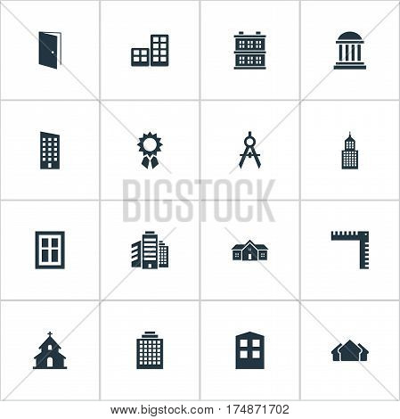 Vector Illustration Set Of Simple Structure Icons. Elements Engineer Tool, Length, Flat And Other Synonyms Apartment, Open And Home.