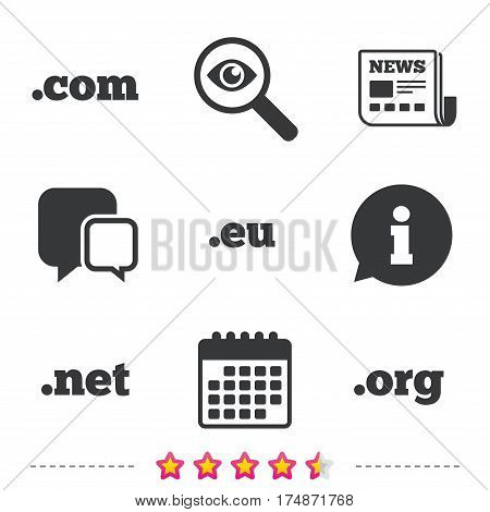 Top-level internet domain icons. Com, Eu, Net and Org symbols. Unique DNS names. Newspaper, information and calendar icons. Investigate magnifier, chat symbol. Vector