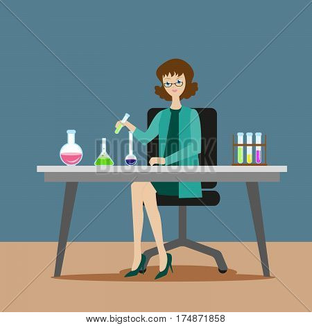 A girl chemist or assistant conducts chemical or biological experiments on mixing solutions. New scientific discoveries. Flat character on grey background. Vector, illustration EPS10