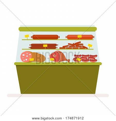 Counter with meat products, sausage and ham in the fridge. Refrigerating equipment for storing food in a store or supermarket. Vector, illustration in flat style isolated on white background EPS1