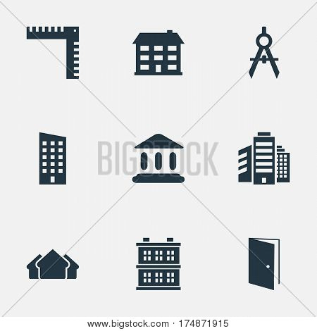 Vector Illustration Set Of Simple Construction Icons. Elements Floor, Gate, Superstructure And Other Synonyms Estates, Booth And Door.