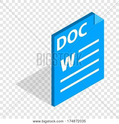 Text file format DOC isometric icon 3d on a transparent background vector illustration