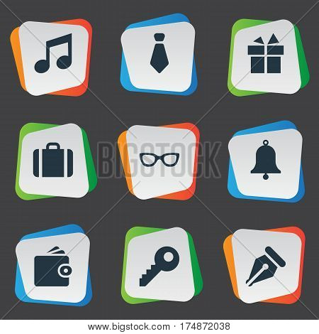 Vector Illustration Set Of Simple Accessories Icons. Elements Cravat, Billfold, Ink Pencil And Other Synonyms Eyeglasses, Password And Gratuity.