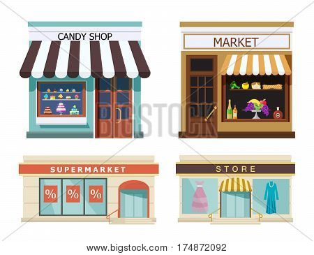 Storefront. Set of different colorful shops market, candy shop, supermarket, store. Vector, illustration in flat style isolated on white background EPS10.