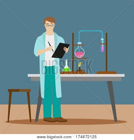 A chemist or an assistant writes down the results of a chemical reaction to a folder. New scientific discoveries. Flat character on grey background. Vector, illustration EPS10