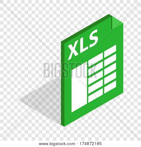 File format xls isometric icon 3d on a transparent background vector illustration