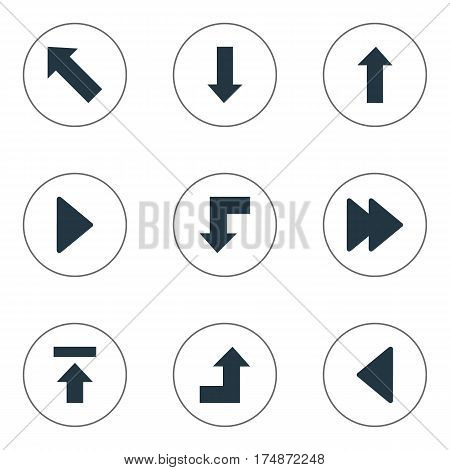 Vector Illustration Set Of Simple Pointer Icons. Elements Right Landmark, Downwards Pointing, Advanced Synonyms Reduction, Forward And Down.