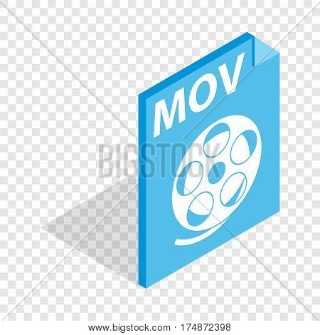 MOV video file extension isometric icon 3d on a transparent background vector illustration