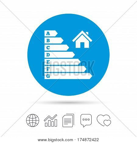 Energy efficiency icon. Electricity consumption symbol. House building sign. Copy files, chat speech bubble and chart web icons. Vector