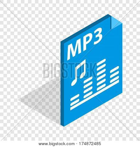 MP3 file format isometric icon 3d on a transparent background vector illustration