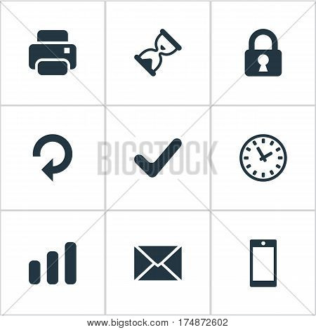 Vector Illustration Set Of Simple Apps Icons. Elements Sand Timer, Printout, Refresh Synonyms Mailing, Hour And Closed.