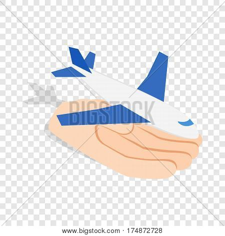 Hand holding plane isometric icon 3d on a transparent background vector illustration