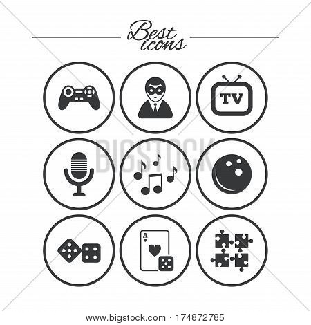 Entertainment icons. Game, bowling and puzzle signs. Casino, carnival and musical note symbols. Classic simple flat icons. Vector