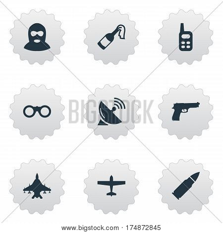 Vector Illustration Set Of Simple Battle Icons. Elements Pistol, Sky Force, Molotov And Other Synonyms Receiver, Bullet And Communication.