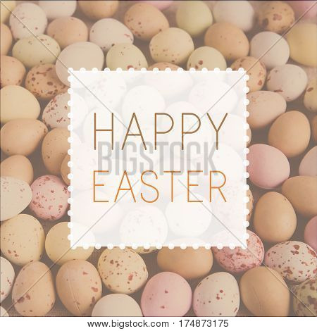 Happy Easter on pastel speckled eggs toning