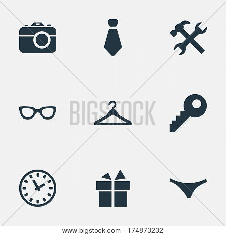 Vector Illustration Set Of Simple Instrument Icons. Elements Underwear, Hanger, Eyeglasses And Other Synonyms Spectacles, Cravat And Camera.
