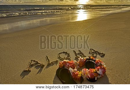 Tropical Island Beach Aloha In Sand With Slippers