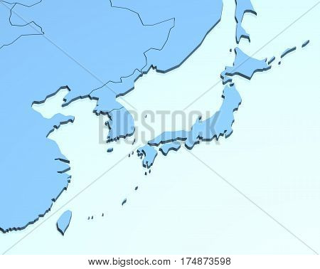 Asia 3D illustration blue geographical location land geography