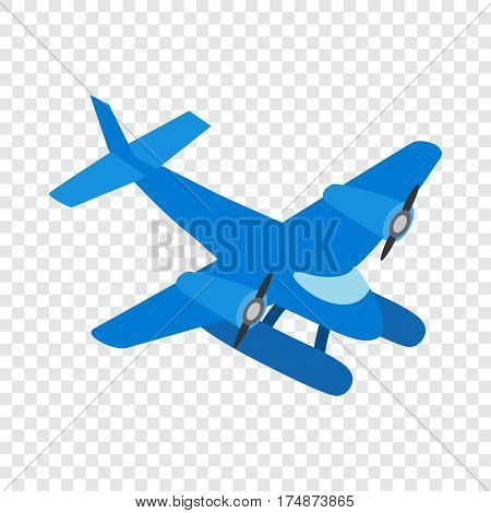 Blue small plane isometric icon 3d on a transparent background vector illustration