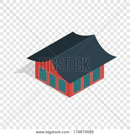 Traditional korean house isometric icon 3d on a transparent background vector illustration