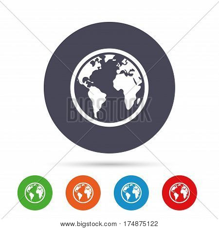 Globe sign icon. World map geography symbol. Round colourful buttons with flat icons. Vector