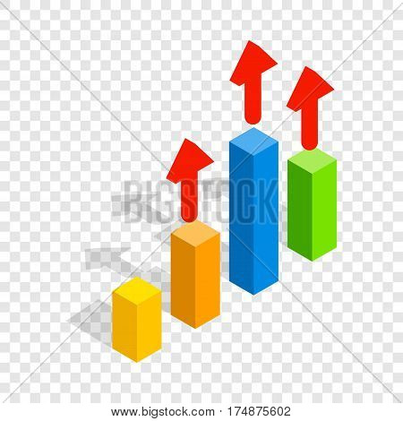 Growth chart isometric icon 3d on a transparent background vector illustration