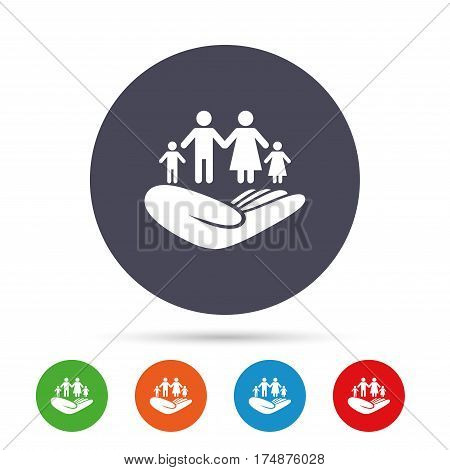 Family life insurance sign. Hand holds human group symbol. Health insurance. Round colourful buttons with flat icons. Vector