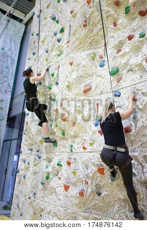 Young Sporty Girls Practicing Rock-climbing On A Rock Wall Indoors