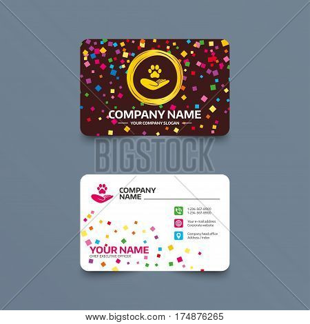 Business card template with confetti pieces. Shelter pets sign icon. Hand holds paw symbol. Animal protection. Phone, web and location icons. Visiting card  Vector