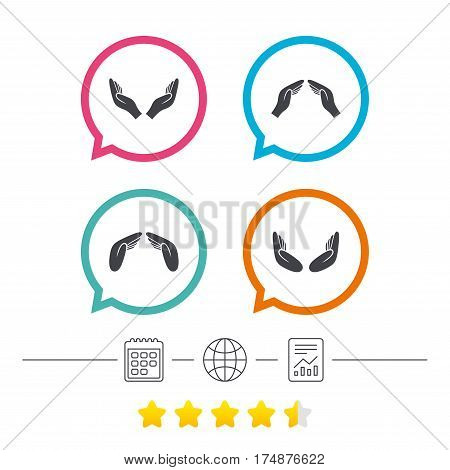 Hands icons. Insurance protection signs. Human helping donation hands. Prayer meditation hands sybmols. Calendar, internet globe and report linear icons. Star vote ranking. Vector
