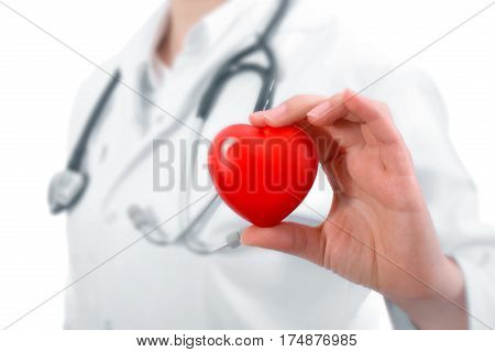 Female Medicine Doctor Hold In Hands Red Toy Heart And Stethoscope. Cardio Therapeutist Student Educ