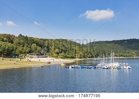 Eschauel Beach At Lake Rursee In Germay
