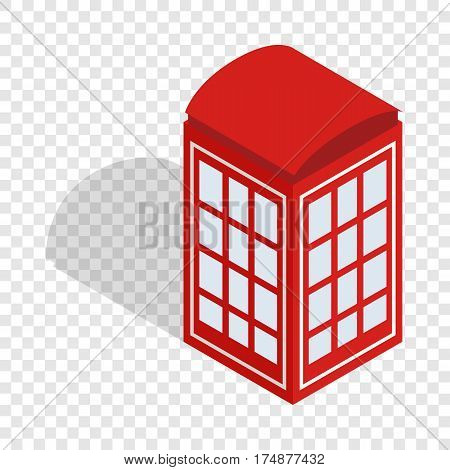 Red telephone booth isometric icon 3d on a transparent background vector illustration