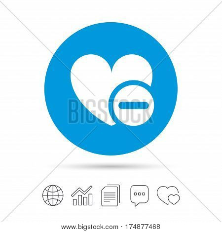 Heart sign icon. Remove lover symbol. Not love. Minus. Copy files, chat speech bubble and chart web icons. Vector