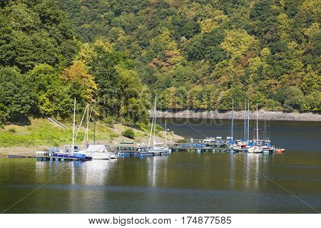 Small Lake Rursee Marina In The Eifel, Germany