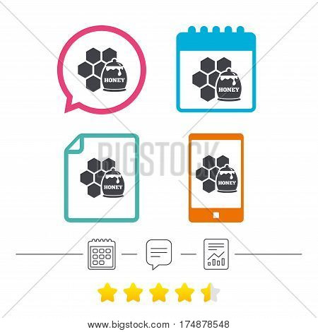 Honey in pot and honeycomb sign icon. Honey cells symbol. Sweet natural food. Calendar, chat speech bubble and report linear icons. Star vote ranking. Vector
