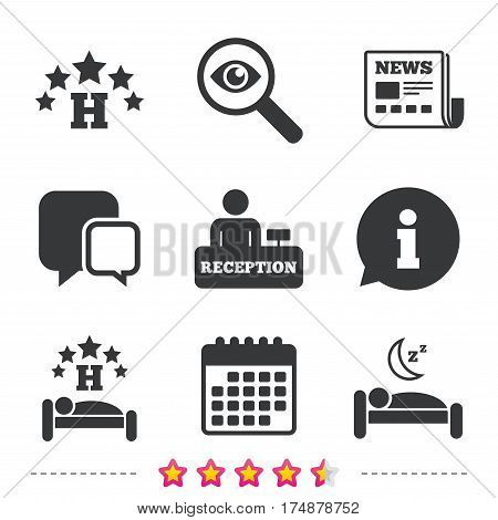 Five stars hotel icons. Travel rest place symbols. Human sleep in bed sign. Hotel check-in registration or reception. Newspaper, information and calendar icons. Investigate magnifier, chat symbol