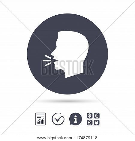 Talk or speak icon. Loud noise symbol. Human talking sign. Report document, information and check tick icons. Currency exchange. Vector