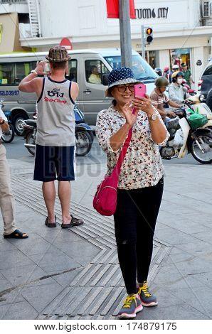 Traveller Use Smartphone Take Photo Traffic