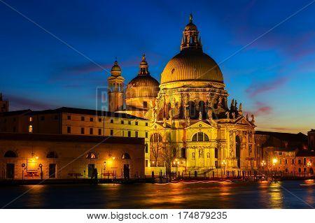 Santa Maria Della Salute In Venice At Night
