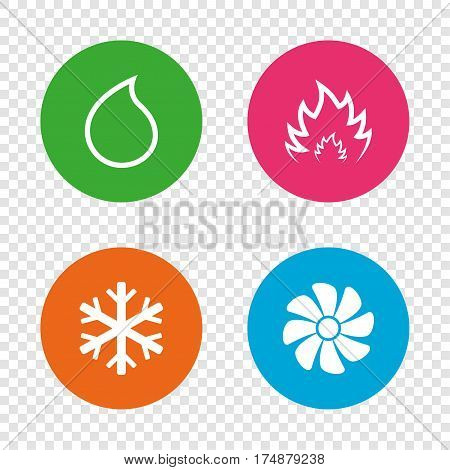HVAC icons. Heating, ventilating and air conditioning symbols. Water supply. Climate control technology signs. Round buttons on transparent background. Vector