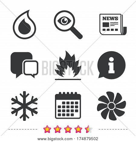 HVAC icons. Heating, ventilating and air conditioning symbols. Water supply. Climate control technology signs. Newspaper, information and calendar icons. Investigate magnifier, chat symbol. Vector