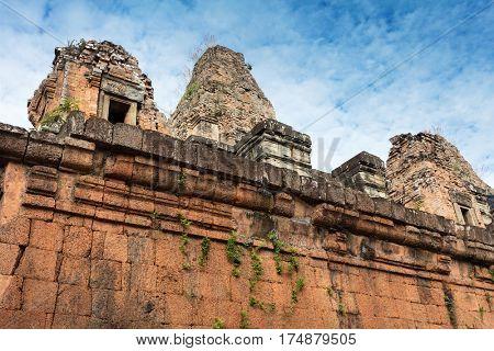 Pre Rup temple ruins and wall at Angkor wat complex
