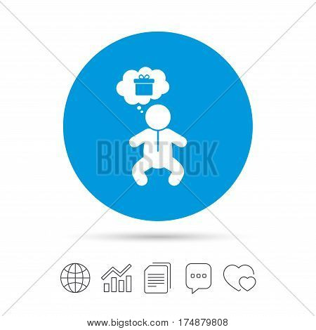 Baby infant think about gift box sign icon. Toddler boy in pajamas or crawlers body symbol. Copy files, chat speech bubble and chart web icons. Vector
