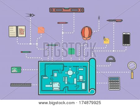 Architecture infographic vector illustration. Building project, design and construction management, estate development business. Ruler, calculator, architectural drawing, safety helmet, spirit level