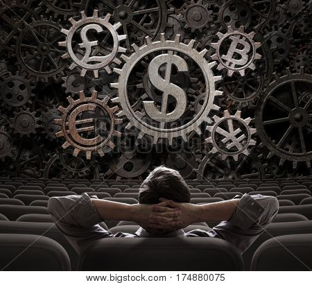 investor or broker with currencies gears including bitcoin 3d illustration
